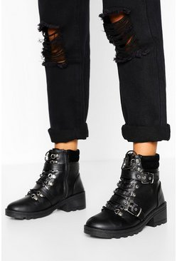 Black Buckle Detail Lace Up Chunky Hiker Boot