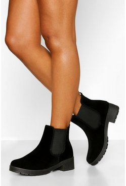 Black Wide Fit Stud Detail Chunky Chelsea Boot