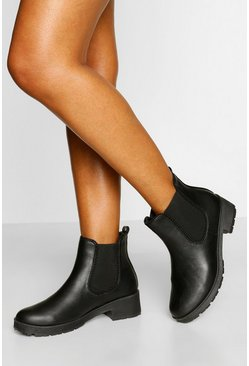 Black Wide Width Stud Detail Chunky Chelsea Boot
