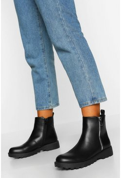 Black Zip Side Chunky Chelsea Boot