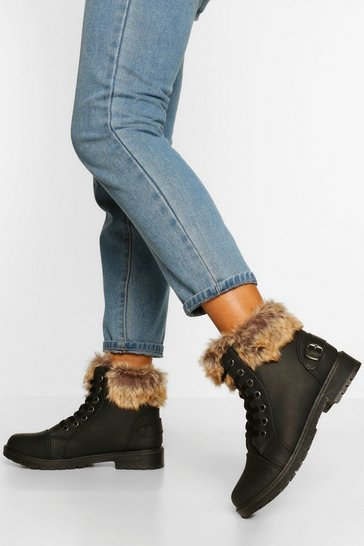 Black Fur Cuff Detail Lace Up Hiker Boot