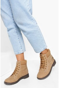 Tan Fur Cuff Detail Lace Up Hiker Boot