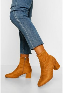 Tan brown Wide Fit Low Block Heel Sock Boot