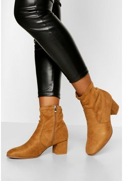 Tan Low Block Heel Sock Boot