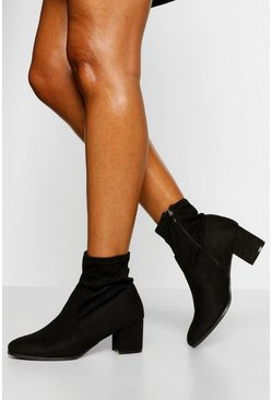 Black Wide Fit Low Block Heel Sock Boot