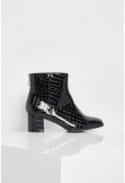 Black Low Block Heel Croc Shoe Boot