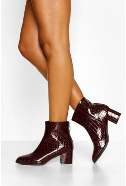 Burgundy red Low Block Heel Croc Shoe Boot