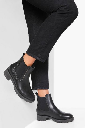 Black Stud Detail Chunky Chelsea Boot