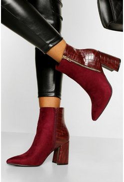 Burgundy Zip Side Block Heel Shoe Boot