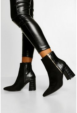 Black Zip Side Block Heel Shoe Boot