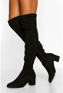 Black Block Heel Knee Boot