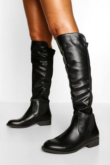 Black Knee High Stretch Riding Boot