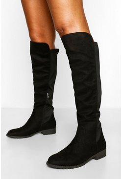 Black Knee High Stretch Riding Boot