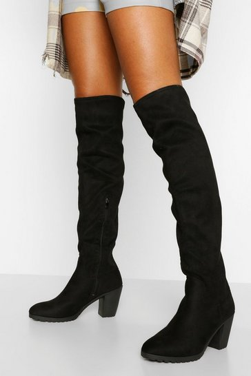Black Block Heel Chunky Stretch Over The Knee Boot