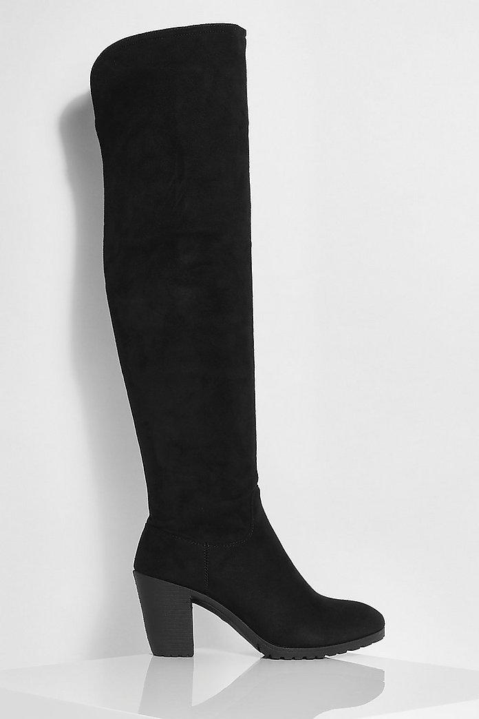 Stevige stretch overknee laarzen met blokhak   boohoo