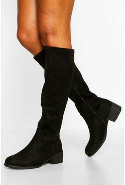 Black Wide Fit Flat Knee High Boot