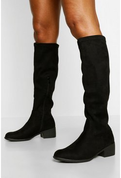 Black Flat Knee High Boot