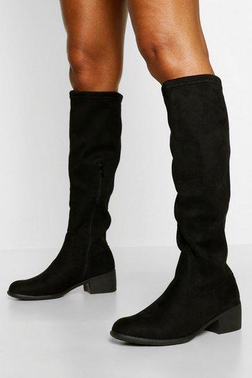 Black Flat Knee High Boot