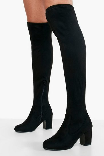 Black Wide Fit Block Heel Stretch Over The Knee Boot