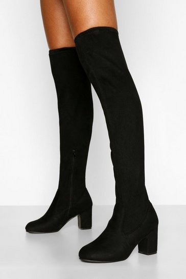 Black Block Heel Stretch Over The Knee Boot