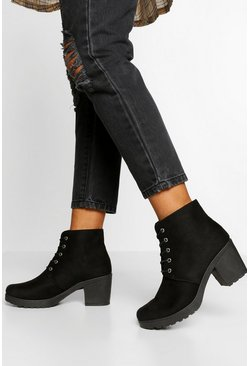 Black Block Heel Lace Up Hiker Boot