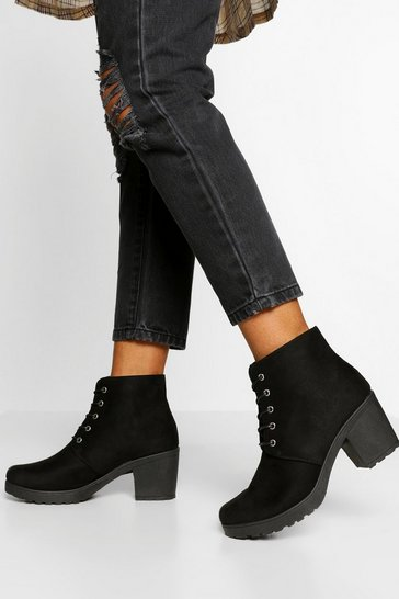Black Block Heel Chunky Hiker Boot
