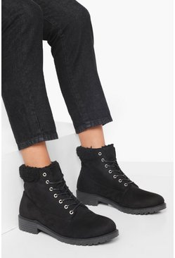 Black Wide Fit Shearling Cuff Hiker Boot