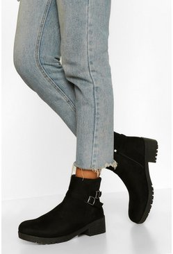 Black Buckle Detail Chunky Chelsea Boot