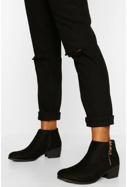 Black Zip Side Chelsea Boot