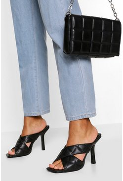 Black Quilted Cross Strap Square Toe Mules