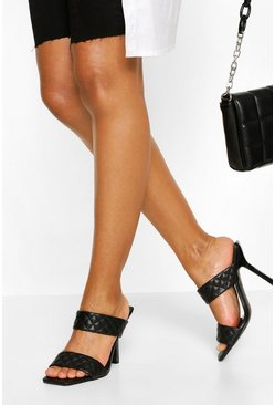 Black Quilted Double Strap Square Toe Mules