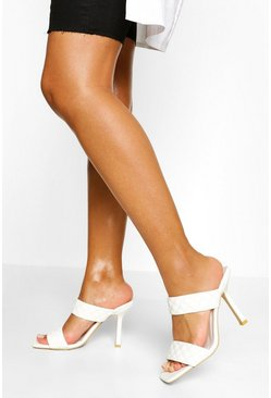 White Quilted Double Strap Square Toe Mules