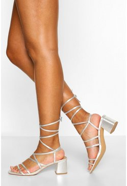 Silver Multi Strap Low Block Heel Sandals