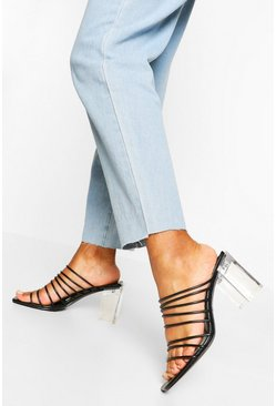 Black Multi Strap Clear Low Heel Mules