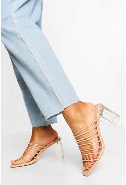 Nude Multi Strap Clear Low Heel Mules