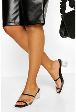 Black Clear Low Heel Mules