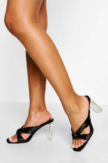 Black Knot Detail Clear Heel Mules