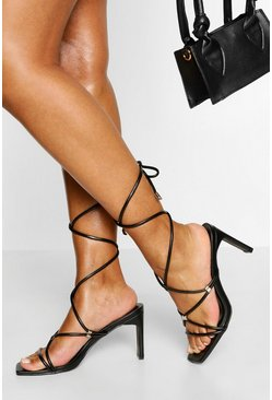 Black Strappy Wrap Up Low Flat Heels