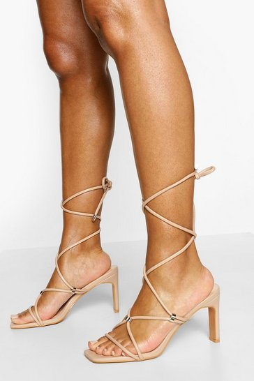 Nude Strappy Wrap Up Low Flat Heels