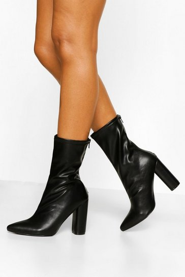 Black Pointed Sock Boot