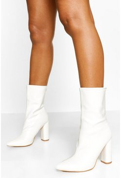 White Pointed Sock Boot