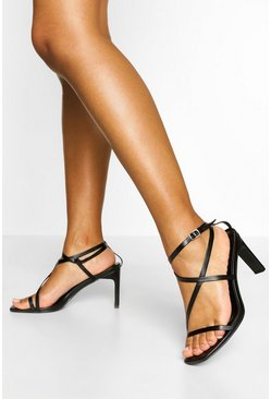 Black Strappy Low Flat Heels