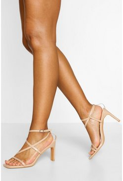 Nude Strappy Low Flat Heels