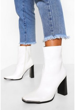 White Metal Trim Square Toe Sock Boot