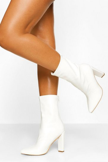 White Pointed Block Heel Sock Boot