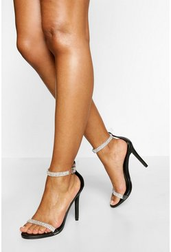 Black Diamante Strap Stiletto Heel Two Parts