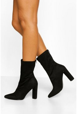 Black Pointed Block Heel Sock Boot
