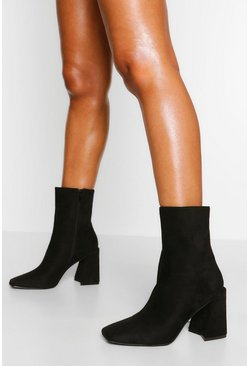 Black Flare Heel Square Toe Sock Boot