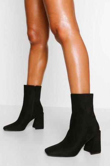 Black Flare Heel Square Toe Sock Boot