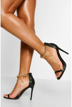 Black Chain Strap Stiletto Heel Two Parts